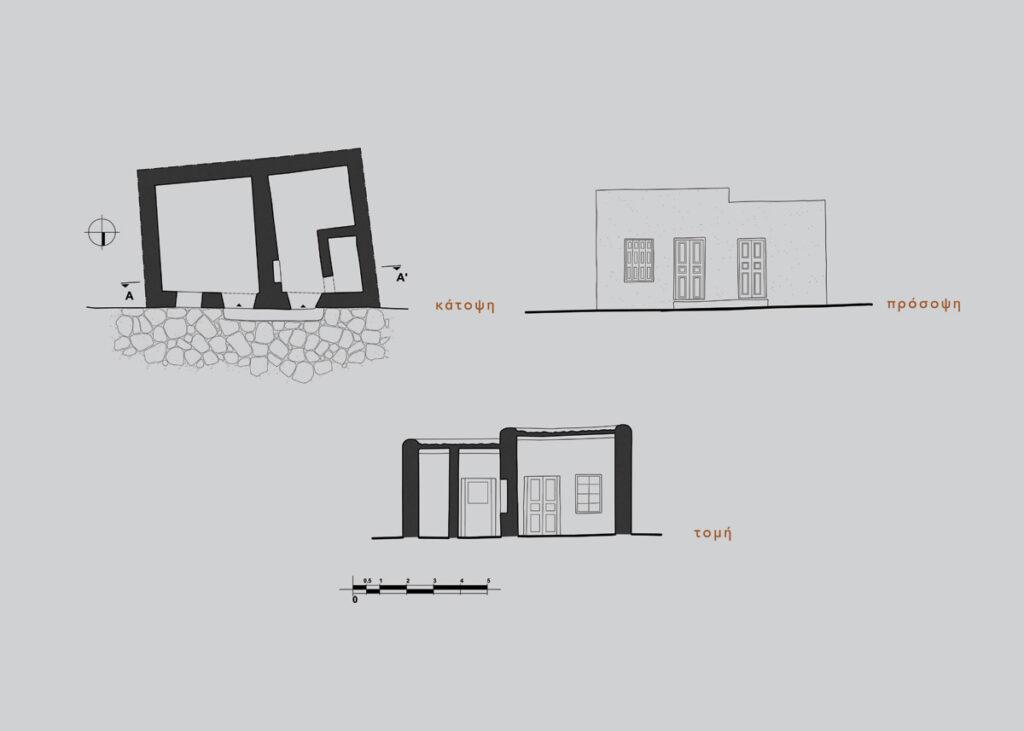 Κατόψεις, προσόψεις και τομές μονόχωρων κατοικιών στη Μάρπησσα.
