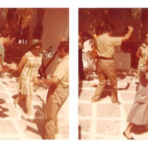 Χοροί στον εορτασμό των Αγίων Αναργύρων στην Παροικιά, τη δεκαετία του 1970. Στη φωτογραφία μεταξύ άλλων διακρίνονται οι: Γιώργος και Μαριγώ Πάσσου, Μαργαρίτα Θεοχαρίδη, Μάρκος Κυριαζάνος.